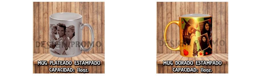 MUG PLATEADO Y DORADO